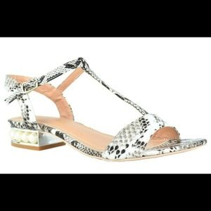 NEW Women's Snake Ankle-Strap Pearly Flats